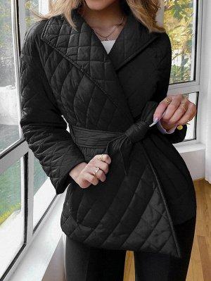 Simplee Стеганое утепленное пальто с поясом