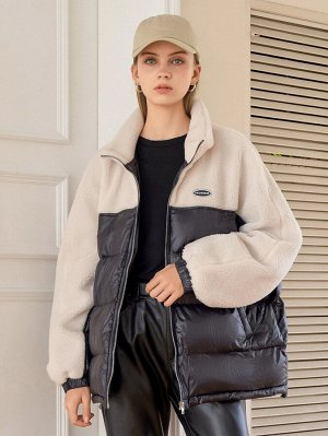 Зимнее пальто с текстовой заплатой контрастный