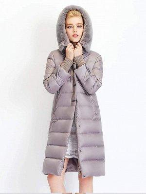 Зимнее пальто однобортный плюшевый с капюшоном