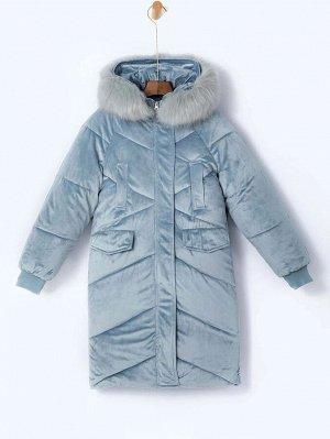 Бархатное ватное пальто с капюшоном и искусственным мехом