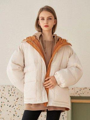 Зимнее пальто Контрастный с карманами на молнии