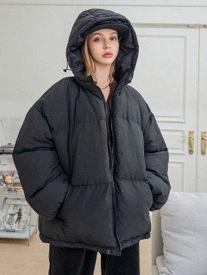 Зимнее пальто с текстовым принтом на молнии с капюшоном