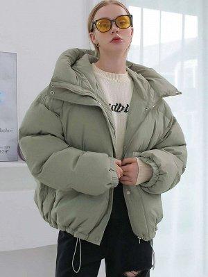 Зимнее пальто на кулиске с капюшоном