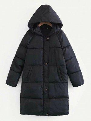 Однобортное пальто с капюшоном