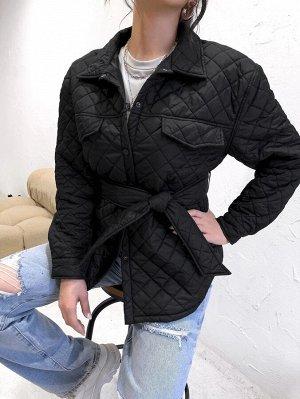 Стеганое пальто с поясом принтом аргайл