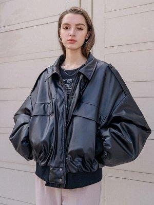 Зимнее пальто из искусственной кожи