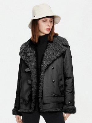 Пальто отложной воротник с карманом