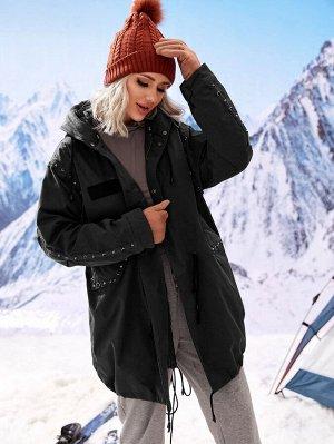 Пуховое пальто на кулиске с капюшоном, заклепками и съемной подкладкой
