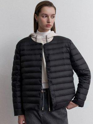 Пуховое пальто пуговица