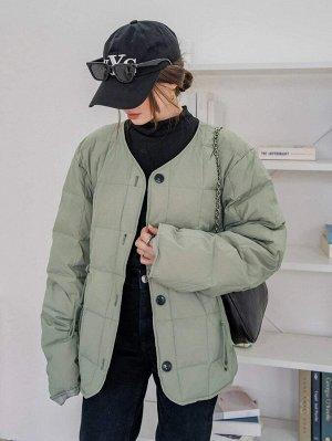 Пуховое пальто на кулиске на пуговицах с разрезом