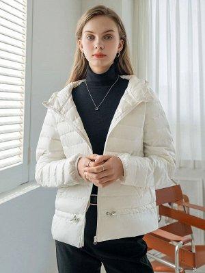 Пуховое пальто на молнии на кулиске с капюшоном
