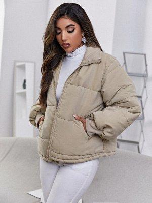 Пуховое пальто с рукавами-фонариками с карманом на молнии