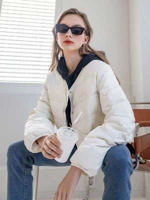 Пуховое пальто с текстовым принтом пуговица