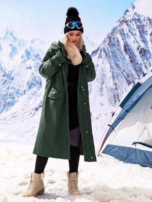 Пальто с капюшоном и молнией на кулиске со съемной прокладкой