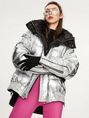 Серебряное пуховое пальто с капюшоном