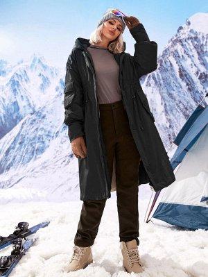 Пуховое пальто с молнией на кулиске с капюшоном