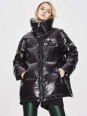Пуховое пальто на молнии с высоким воротником