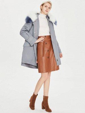 Пуховое пальто с капюшоном и искусственным мехом