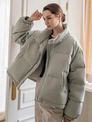 Пуховое пальто с высоким воротником
