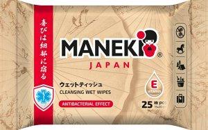 """Салфетки влажные """"Maneki"""" очищающие и увлажняющие для всей семьи с витамином Е, 25 шт/уп, НОВИНКА!"""