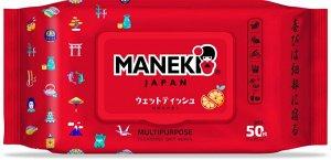 """Салфетки влажные """"Maneki"""" универсальные очищающие, 50 шт/уп НОВИНКА!"""