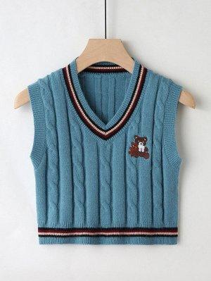 Короткий жилет-свитер с узором медведя без футболки