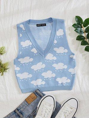 Жилет-свитер с принтом