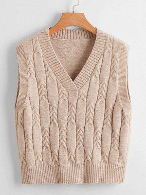 Жилет-свитер с V-образным воротником