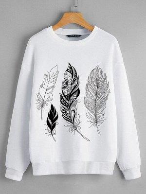 Пуловер с принтом перьев