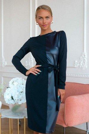 Платье Восхитительно красиво выглядит платье в комбинации трикотажа и эко кожи. Строгость с одновременной экстравагантностью представлена в оттенке ночного неба и приталенного кроя. Пояс подчёркивает