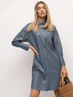 Платье из экокожи рубашечного кроя Pl1234/bubby