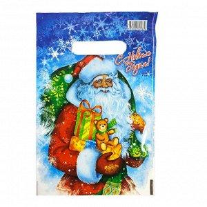 """Пакет вырубной ПВД """"Дед Мороз с подарками"""" 20*30см 35 мкм (100шт)"""