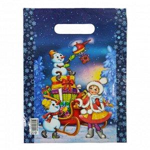 """Пакет вырубной ПВД """"Снеговики и снегурочка"""" 20*30см 35 мкм (100шт)"""