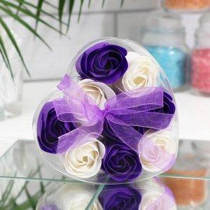 Мыльные розочки, фиолетовые и белые, набор 9 шт.