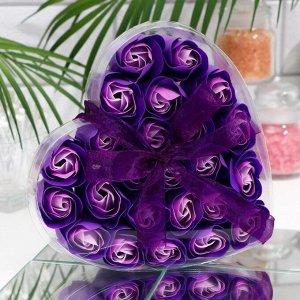 Мыльные розочки, фиолетово-белые, набор 24 шт.