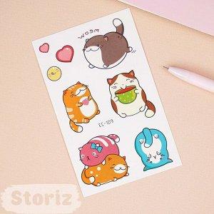 """Временная татуировка """"Cute Animals"""" EC-109, 12x75 мм"""