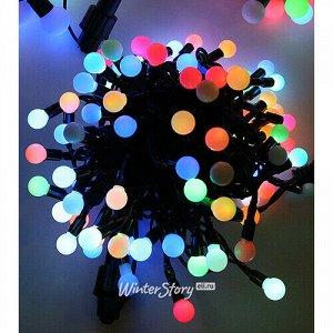 Светодиодная гирлянда Мультишарики 13 мм 100 RGB LED ламп 10 м, черный ПВХ, соединяемая, IP44 (BEAUTY LED)
