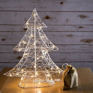 Светящаяся елка Lotta Shine 40 см 30 теплых белых LED ламп, серебряная проволока, батарейки, таймер (Kaemingk)