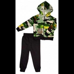 Спортивный костюм 0310/1 зеленый камуфляж , печать