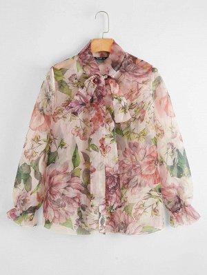Блузка размера плюс с цветочным принтом и воротником-бантом