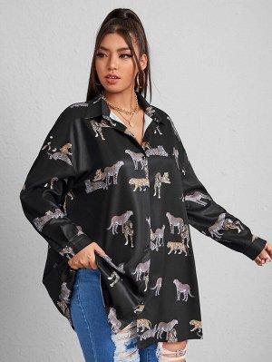 Размера плюс Блуза оверсайз тигр & с леопардовым принтом