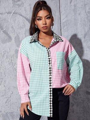 Размера плюс Блуза в клетку с краманом