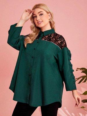 Контрастная сетка Пуговица Контрастный цвет Повседневный Блузы размер плюс