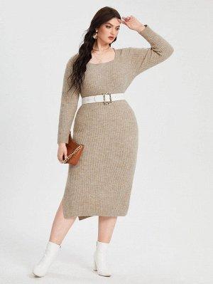 Разрез Одноцветный Повседневный Свитер-платье размер плюс