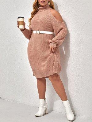 Размера плюс Платье-свитер открытыми плечами с рукавом-реглан с высоким воротником без пояса