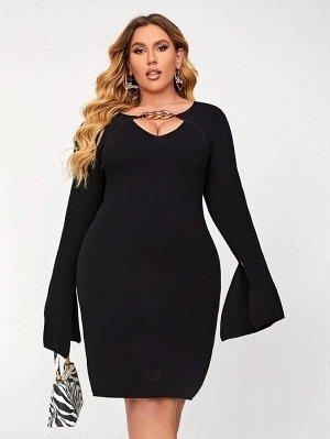 Размера плюс Платье-свитер с цепочкой с рукавами-воланами