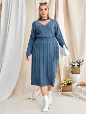 Размера плюс Платье-свитер чокер вязаный