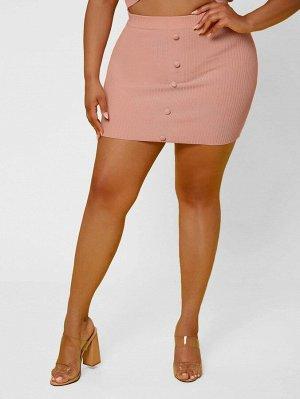 Размера плюс Облегающая юбка однобортный вязаный
