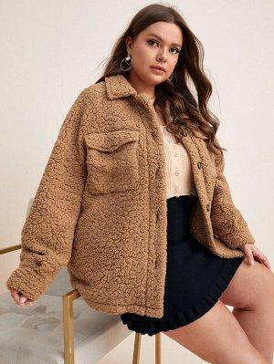 Тедди пальто с карманом размера плюс