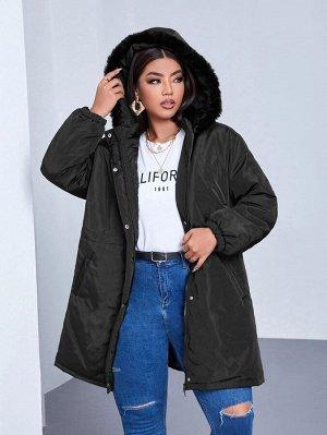 Размера плюс Зимнее пальто с карманом плюшевый с отделкой с капюшоном